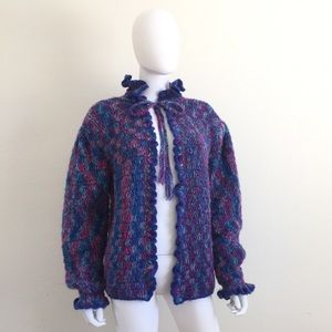 Vintage Hand Knit tie ruffle cardigan sweater